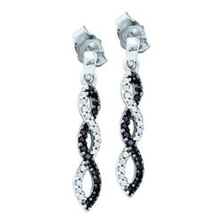 10KT White Gold 0.15CT BLACK DIAMOND FASHION EARRING