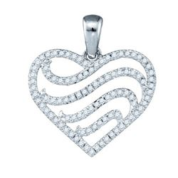 10KT White Gold 0.25CTW-DIAMOND MICRO-PAVE HEART PENDAN
