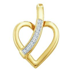 10KT Yellow Gold 0.03CTW ROUND DIAMOND HEART PENDENT