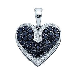 10KT White Gold 0.51CTW DIAMOND HEART PENDANT