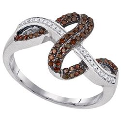 10KT White Gold 0.25CTW COGNAC DIAMOND FASHION RING