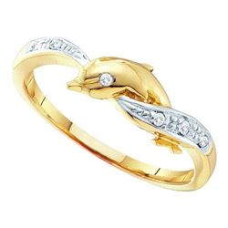 10KT Yellow Gold 0.04CTW  DIAMOND DOLPHIN RING