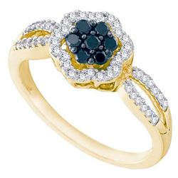 10K Yellow-gold 0.32CTW BLACK DIAMOND FLOWER RING