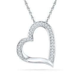 10KT White Gold 0.13CTW DIAMOND FASHION PENDANT