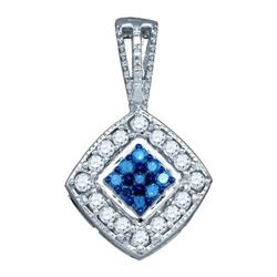 10KT White Gold 0.26CTW BLUE DIAMOND FASHION PENDANT