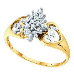 10KT Yellow Gold 0.15CTW ROUND DIAMOND LADIES CLUSTER R
