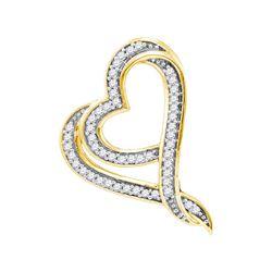 10kt Yellow Gold Womens Round Natural Diamond Heart Lov