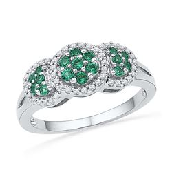 10kt White Gold Womens Round Lab-Created Emerald Diamon