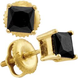14kt Yellow Gold Womens Princess Black Colored Diamond