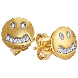 10kt Yellow Gold Womens Round Diamond Smiley Face Screw