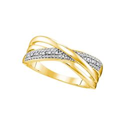10kt Yellow Gold Womens Round Diamond Crossover Band Ri