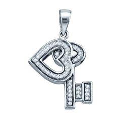 925 Sterling Silver White 0.14CTW DIAMOND KEY PENDANT