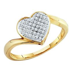 10KT Yellow Gold 0.05CTW DIAMOND HEART RING