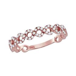 10kt Rose Gold Womens Round Diamond Circle Stackable Ba
