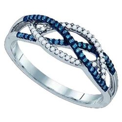 10KT White Gold 0.20CT BLUE DIAMOND MICRO-PAVE RING