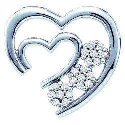 10KT White Gold 0.07CTW DIAMOND HEART PENDANT