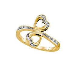 10KT Yellow Gold 0.04CTW DIAMOND MICRO PAVE HEART RING