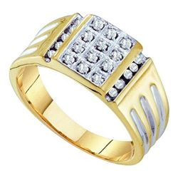 10K Yellow-gold 0.25CTW ROUND DIAMOND MENS CLUSTER RING