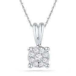 10KT White Gold 0.08CTW DIAMOND FASHION PENDANT