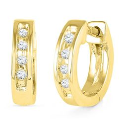 10K Yellow-gold 0.06CTW DIAMOND HOOPS EARRING