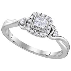 10KT White Gold 0.19CTW DIAMOND INVISIBLE FASHION RING