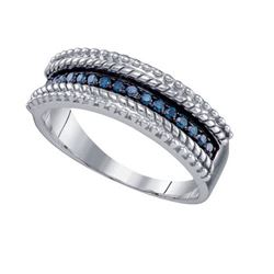 925 Sterling Silver White 0.23CTW BLUE DIAMOND FASHION