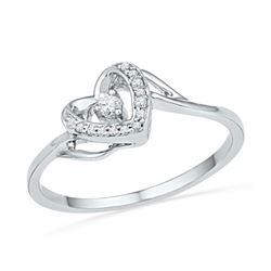 10KT White Gold 0.08CTW DIAMOND HEART RING