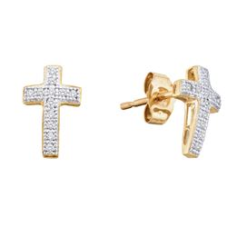10kt Yellow Gold Womens Round Natural Diamond Cross Clu