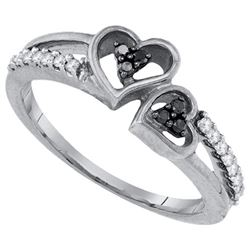 925 Sterling Silver White 0.21CTW DIAMOND HEART RING