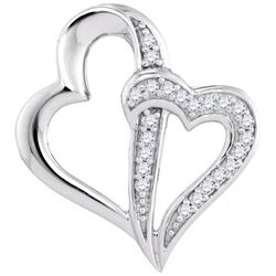 10KT White Gold 0.06CTW-Diamond HEART PENDANT