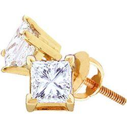 14KT Yellow Gold 0.20CTW-(EXCE) PRINCESS DIAMOND STUDS