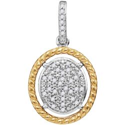 10kt Two-tone Gold Womens Diamond Oval Cluster Yellow-t