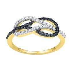 10K Yellow-gold 0.33CTW BLACK DIAMOND FASHION RING