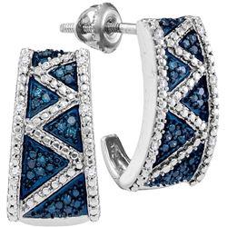 Womens 10K White Gold Enhanced Colored Blue Diamond Hal