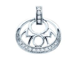 925 Sterling Silver White 0.12CTW DIAMOND MOM PENDANT