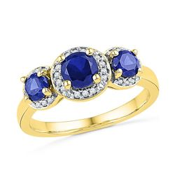 10kt Yellow Gold Womens Round Lab-Created Blue Sapphire