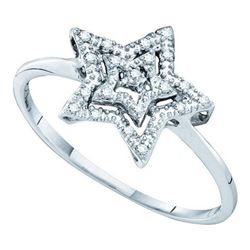 10KT White Gold 0.04CTW DIAMOND STAR RING