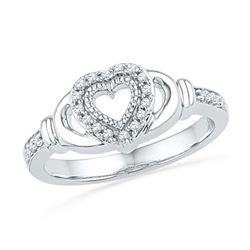 10KT White Gold 0.12CTW DIAMOND FASHION HEART RING