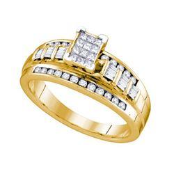 925 Sterling Silver Yellow 0.50CTW DIAMOND INVISIBLE RI