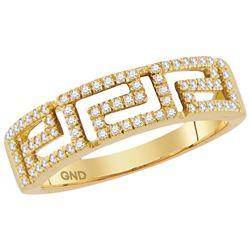 10kt Yellow Gold Womens Round Diamond Greek Key Band Ri