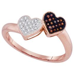 10KT Rose Gold 0.10CW DIAMOND MICRO-PAVE HEART RING