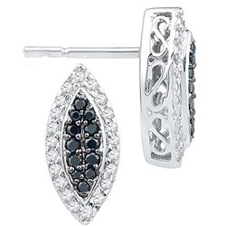 10kt White Gold Womens Round Black Colored Diamond Oval