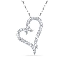 10KT White Gold 0.20CTW DIAMOND FASHION PENDANT