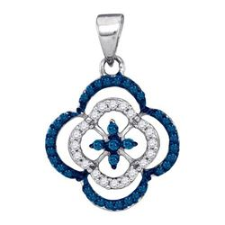 14K White-gold 0.25CTW BLUE DIAMOND MICRO-PAVE PENDANT