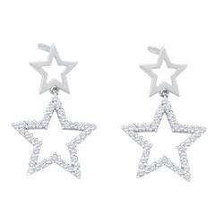 10KT White Gold 0.25CTW DIAMOND STAR EARRINGS