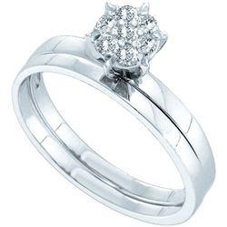 10KT White Gold 0.15CTW ROUND DIAMOND BRIDAL SET