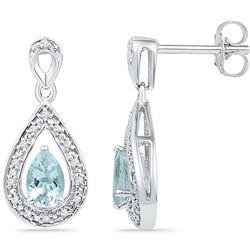 10k White Gold Natural Diamond & Lab-Created Aquamarine