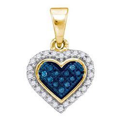 10K Yellow-gold 0.13CTW BLUE DIAMOND MICRO-PAVE PENDANT