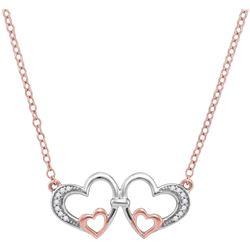 10kt Rose Gold Womens Round Diamond Double Heart Pendan