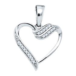 10K White-gold 0.06CTW DIAMOND HEART PENDANT